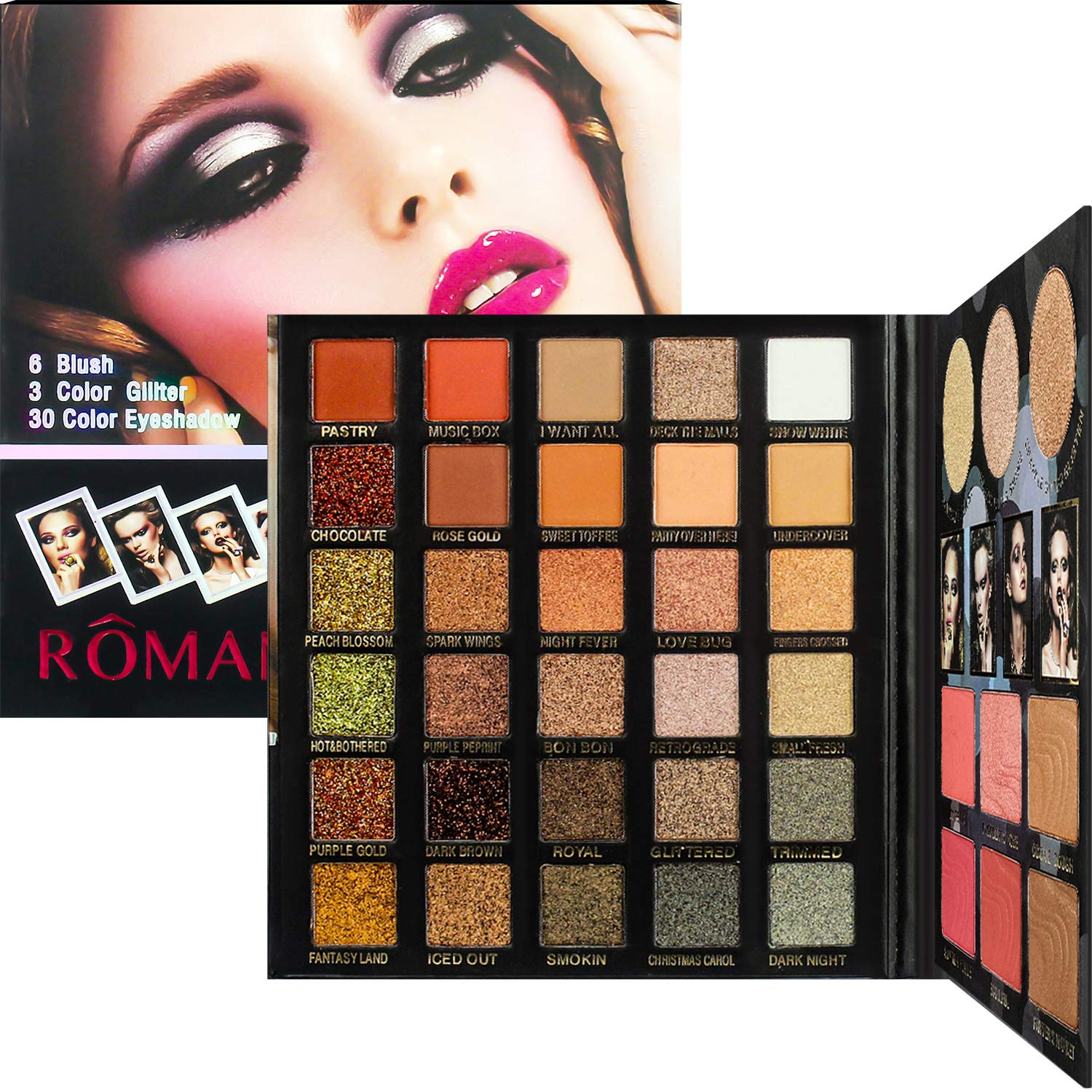 Proteove 39 Colors Eyeshadow Palette - Fashionable Nudes Warm Natural Bronze Neutral Smoky Cosmetic Makeup Eye Shadows, High Pigment, Multi Reflective Shimmer Matte Glitter, Eyeshadow Shield Included