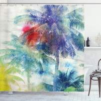 """Ambesonne Palm Tree Shower Curtain, Retro Watercolor Silhouettes of Palm Trees Stains on Tropical Paradise Theme, Cloth Fabric Bathroom Decor Set with Hooks, 70"""" Long, Sepia Purple"""