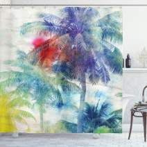 "Ambesonne Palm Tree Shower Curtain, Retro Watercolor Silhouettes of Palm Trees Stains on Tropical Paradise Theme, Cloth Fabric Bathroom Decor Set with Hooks, 84"" Long Extra, Sepia Purple"