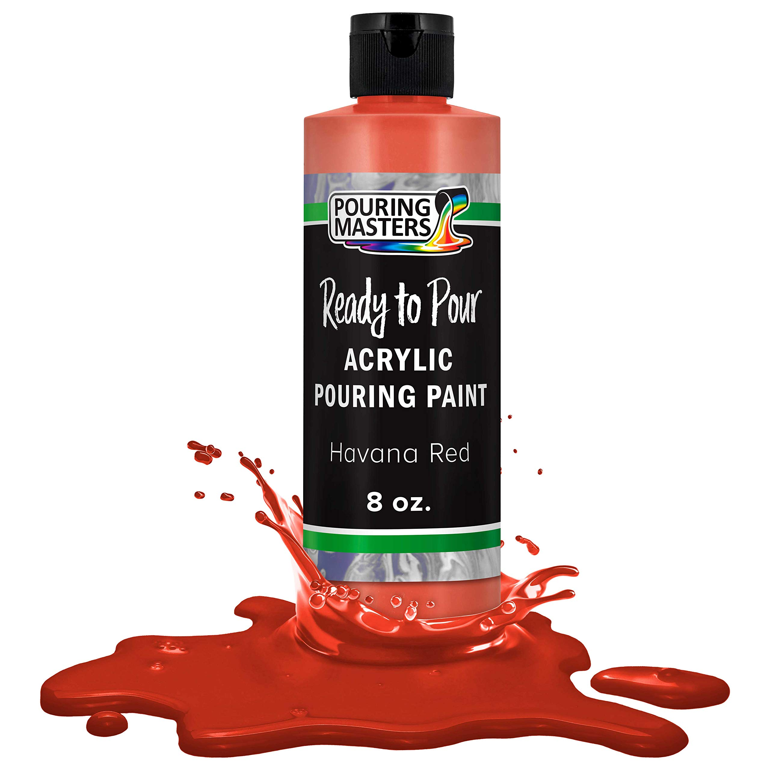 Pouring Masters Havana Red Acrylic Ready to Pour Pouring Paint – Premium 8-Ounce Pre-Mixed Water-Based - for Canvas, Wood, Paper, Crafts, Tile, Rocks and More