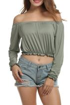 Women's Sexy Off The Shoulder Blouse Crop Tops Summer Long Sleeves Casual Tees