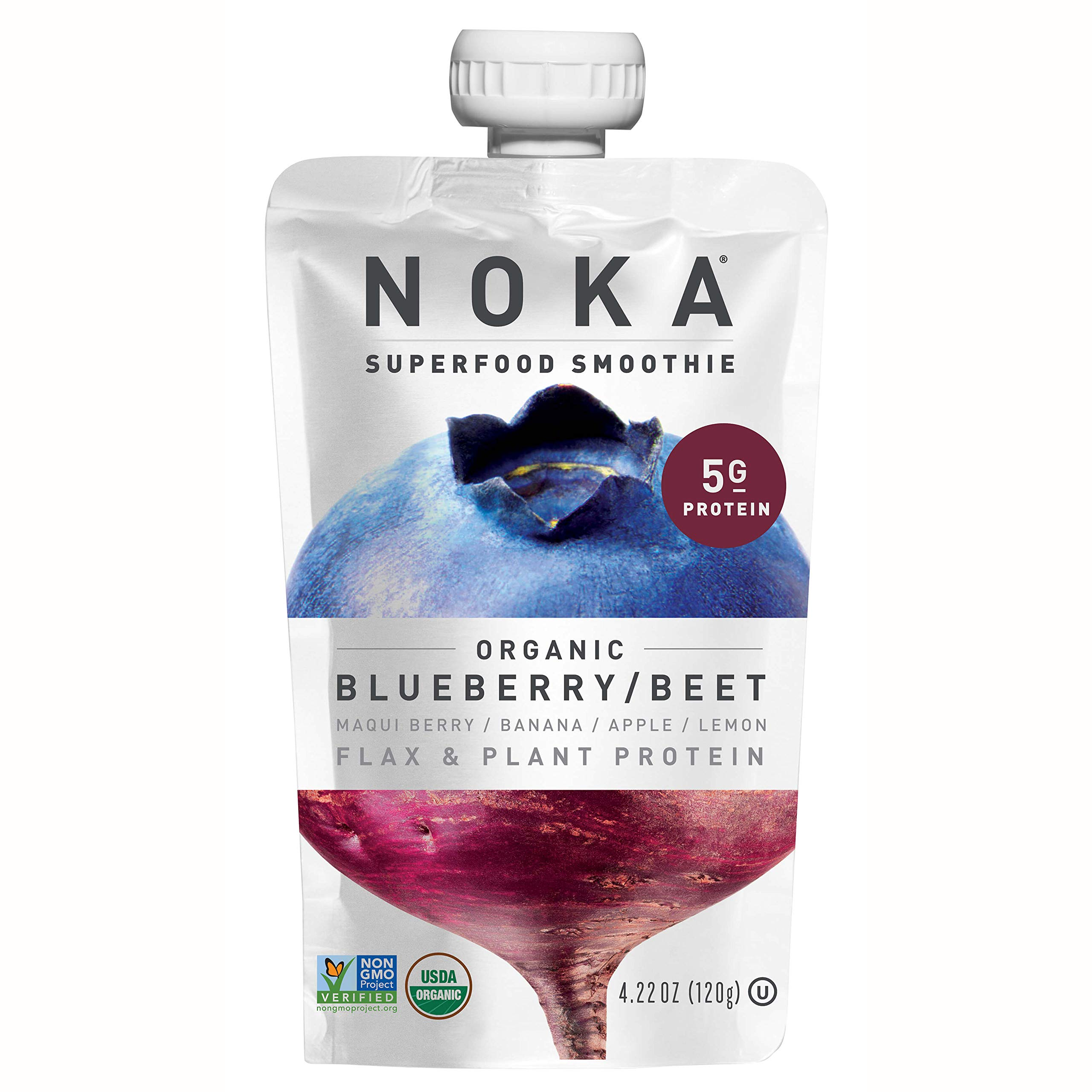 NOKA Superfood Pouches (Blueberry Beet) 12 Pack   100% Organic Fruit And Veggie Smoothie Squeeze Packs   Non GMO, Gluten Free, Vegan, 5g Plant Protein   4.2oz Each