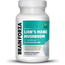 Brain Forza Organic Lion's Mane Mushroom Capsules, Natural Support for Mental Clarity, Focus, Memory, Nerve Health, Non-GMO, Vegan, Organic, 90 Capsules