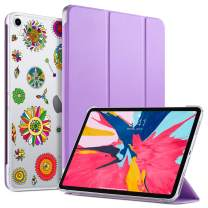 ULAK Case for iPad Pro 11 Inch 2018, Slim Lightweight Trifold Stand Smart Cover with Auto Wake/Sleep, Hard Back Designed Cover for iPad Pro 11 (Support 2nd Gen iPad Pencil Charging), Purple Pinwheel