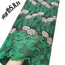 WorthSJLH Net African Lace Fabric 5 Yards 2019 Latest Nigerian French Lace Fabric Green Swiss Bridal Lace Fabric J811 (Green)