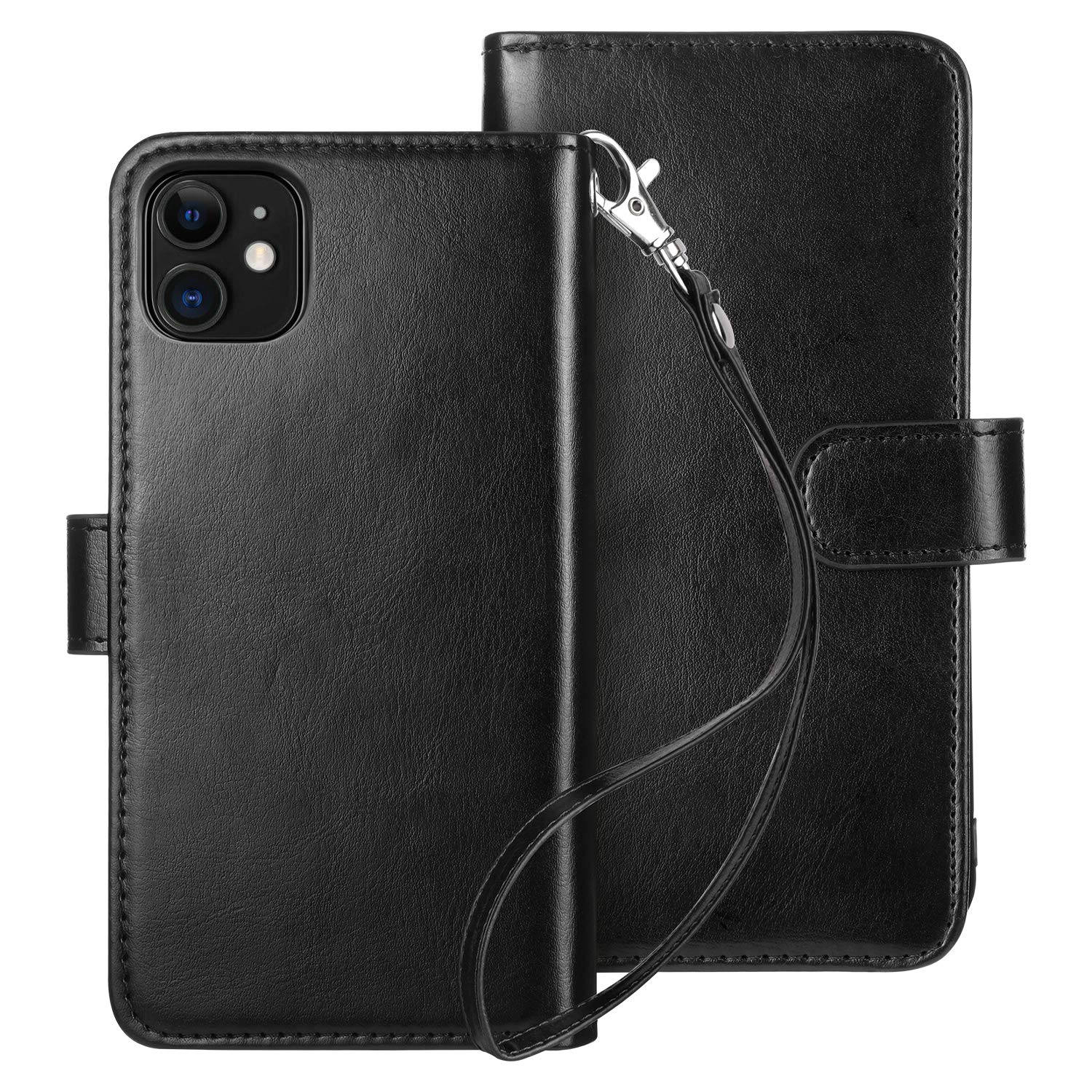 HianDier Case for iPhone 11 Wallet Cases with Card Holder 9 Slots Detachable PU Leather Flip Cover Shockproof Magnetic Clasp Lanyard Dual Layer Wallet Case for 2019 iPhone 11 6.1 Inches, Black
