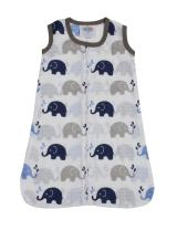 Bacati - Muslin Printed Sleeping Bag (Wearable Blankets) (Medium, Elephants Blue/Grey)