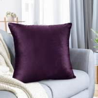 """Nestl Bedding Throw Pillow Cover 16"""" x 16"""" Soft Square Decorative Throw Pillow Covers Cozy Velvet Cushion Case for Sofa Couch Bedroom - Eggplant Purple"""