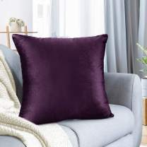"Nestl Bedding Throw Pillow Cover 18"" x 18"" Soft Square Decorative Throw Pillow Covers Cozy Velvet Cushion Case for Sofa Couch Bedroom - Eggplant Purple"
