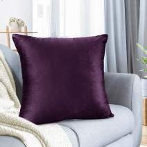 "Nestl Bedding Throw Pillow Cover 16"" x 16"" Soft Square Decorative Throw Pillow Covers Cozy Velvet Cushion Case for Sofa Couch Bedroom - Eggplant Purple"