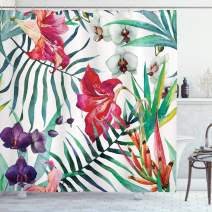 """Ambesonne Watercolor Flower Shower Curtain, Tropical Wild Orchid Flowers with Palm Leaves Print Exotic Style Nature, Cloth Fabric Bathroom Decor Set with Hooks, 84"""" Long Extra, Green Red"""