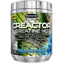 MuscleTech Creactor, Max Potency Creatine Powder, Micronized Creatine and Creatine HCl, Blue Raspberry, 120 Servings (264g)