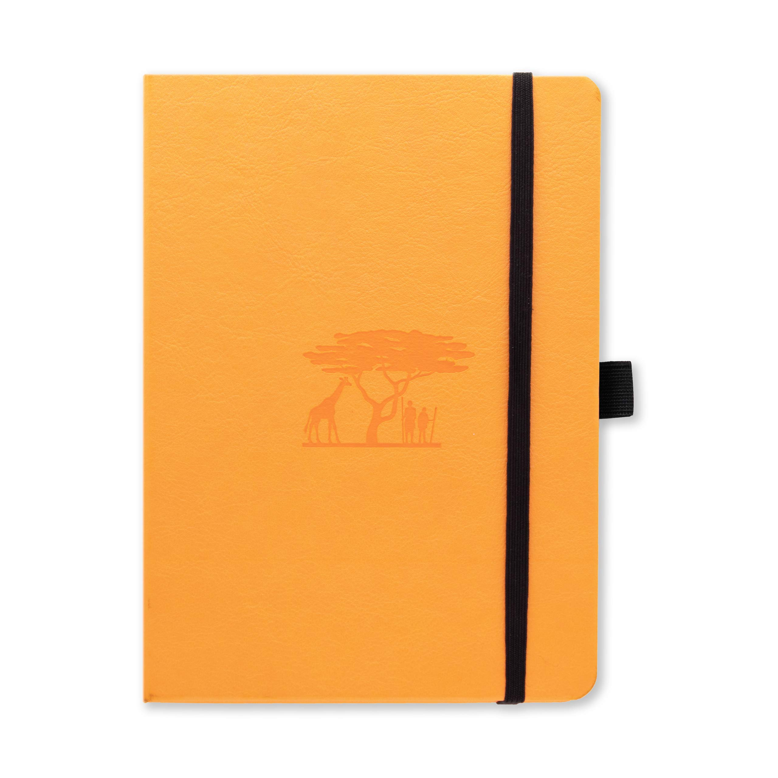 Dingbats Earth Dotted Medium A5+ Hardcover Journal - PU Leather, FP Proof 100gsm Coated Cream Paper, Numbered Pages, Inner Pocket, Elastic Closure, Pen Holder, 2 Bookmarks (Tangerine Serengeti)
