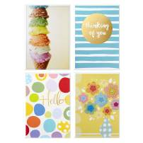 Hallmark Assorted Blank Cards Set (Fun Designs, 12 Cards and Envelopes) Hello, Thinking of You, Ice Cream, Flowers, Stripes