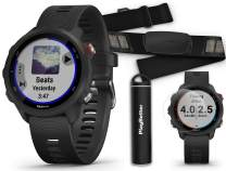 Garmin Forerunner 245 Music (Black) Running GPS Watch + HRM-Dual Chest Strap Power Bundle | +HD Screen Protectors & PlayBetter Portable Charger | Advanced Analytics, Heart Rate, Spotify