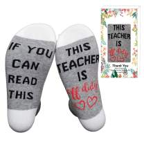 XYSOCKS If You Can Read This Teacher is Off Duty Funky Socks Teacher's Gift for Holiday, Grey, Large…