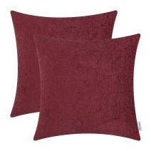 CaliTime Pack of 2 Cozy Throw Pillow Covers Cases for Couch Sofa Home Decoration Solid Dyed Soft Chenille 18 X 18 Inches Burgundy