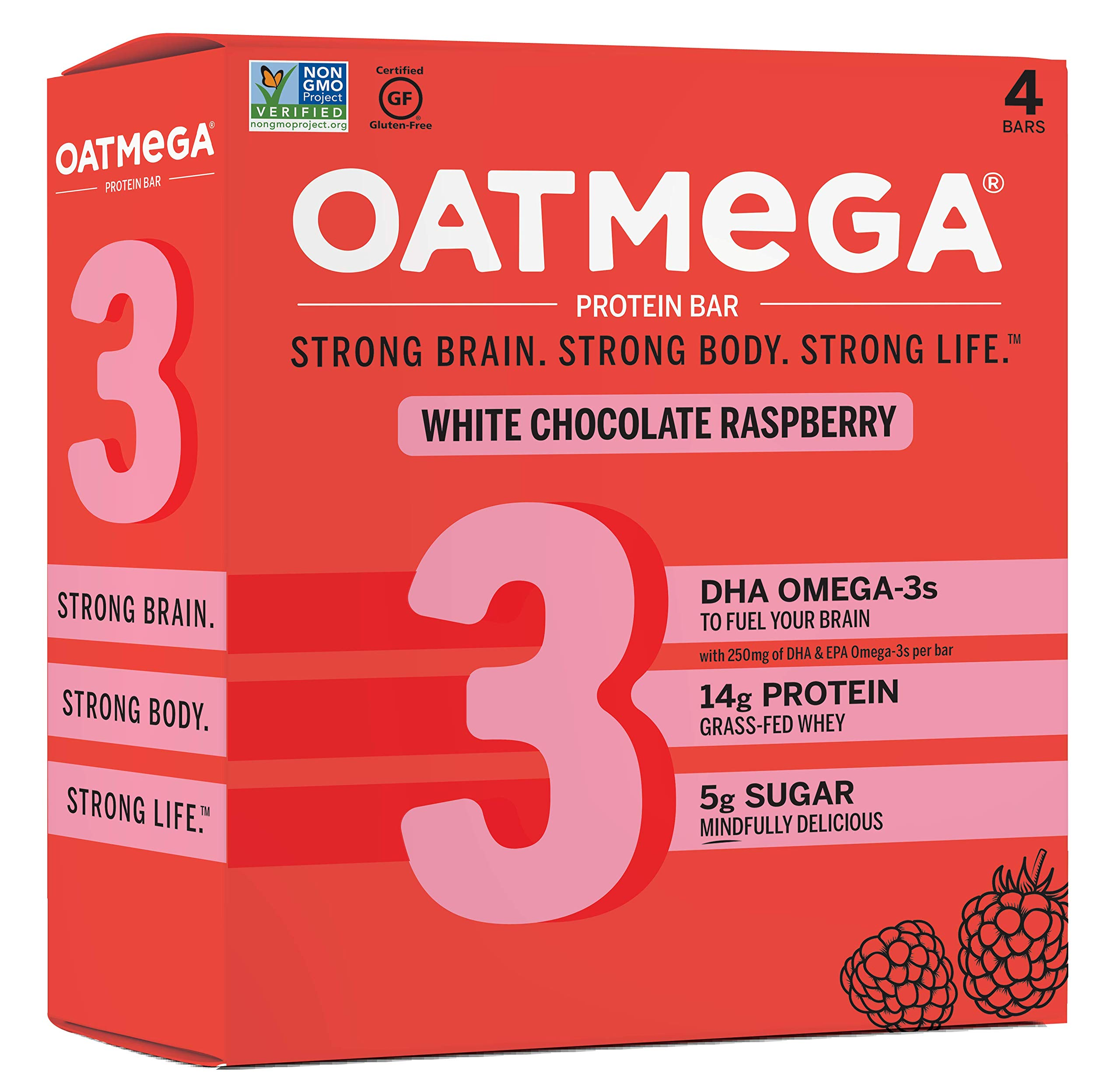 Oatmega Protein Bars, White Chocolate Raspberry, Healthy Snacks Made with Omega-3 and Grass-Fed Whey Protein, Gluten Free Protein Bars, 1.8oz (4 Count)