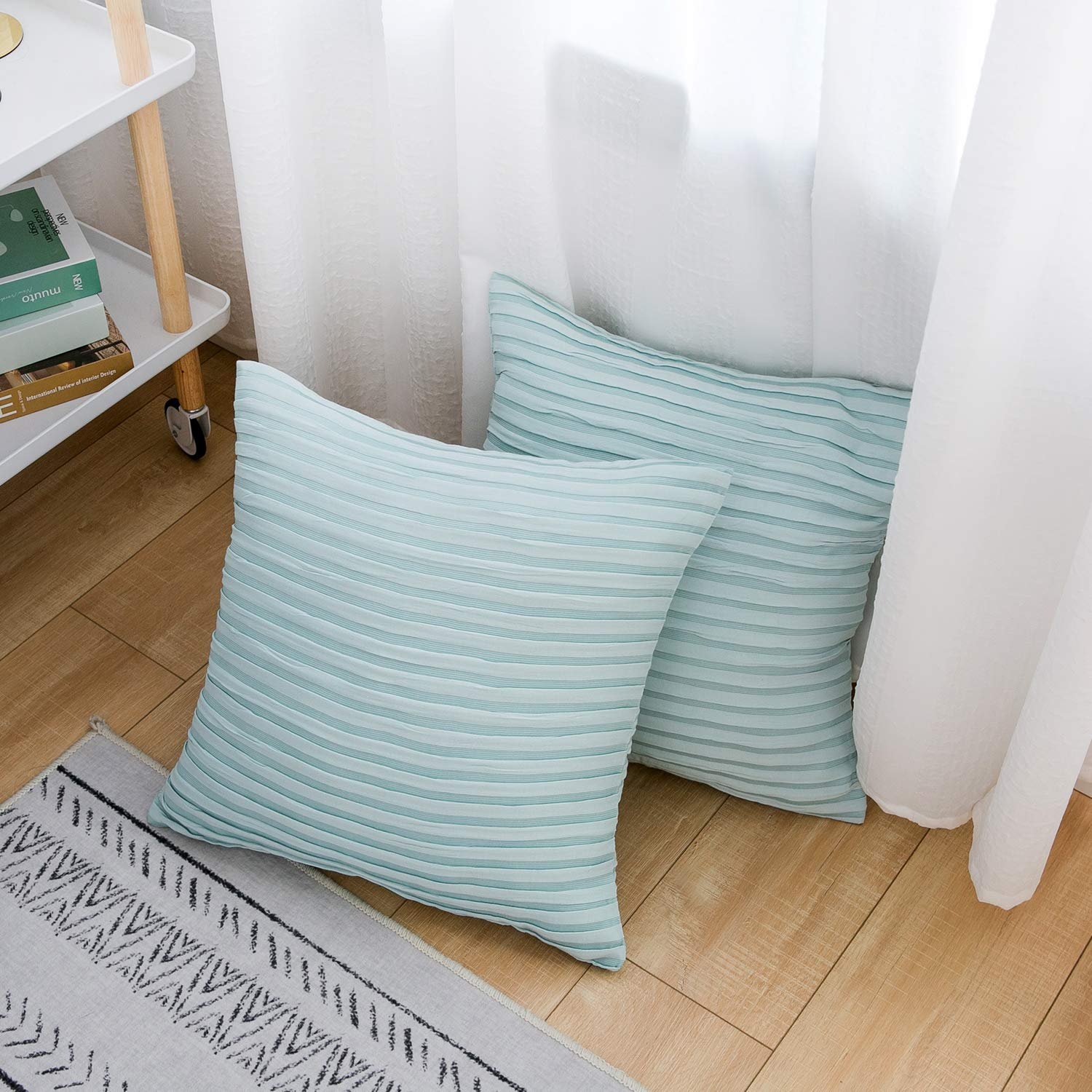 Yeadous Throw Pillow Covers Case 2 Pack Jacquard Striped 100 Cotton Cushion Cover Soft Throw Pillow Case Best Decorative Pillow Shams Covers For Sofa Couch Bed Home Decor Light Teal 18 X18
