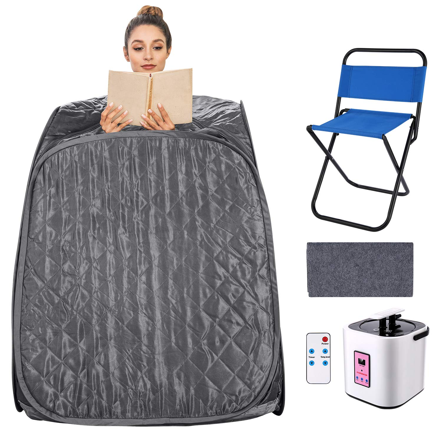 elifine Portable Steam Sauna Spa Home 2L Personal Therapeutic Sauna with Remote Control One Person Sauna Tent with Foldable Chair Timer (Gray)