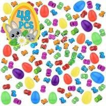 48 Toy Filled Plastic Easter Eggs with Miniature Wind-Up Car - 2.3-inch Easter Egg Hunt Party Favor Bundle Toys