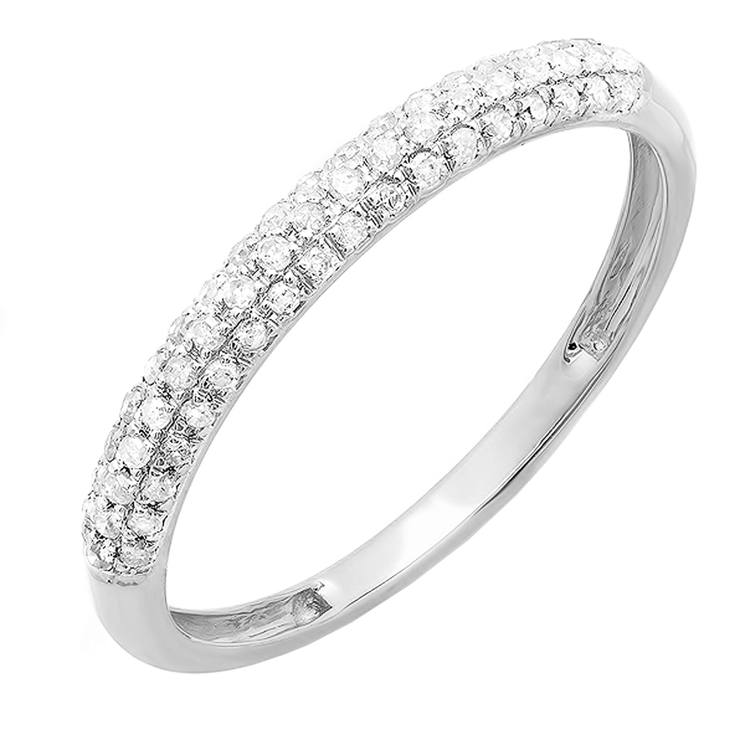 Dazzlingrock Collection 0.20 Carat (ctw) Round White Diamond Ladies Stackable Wedding Band 1/5 CT, 10K Gold