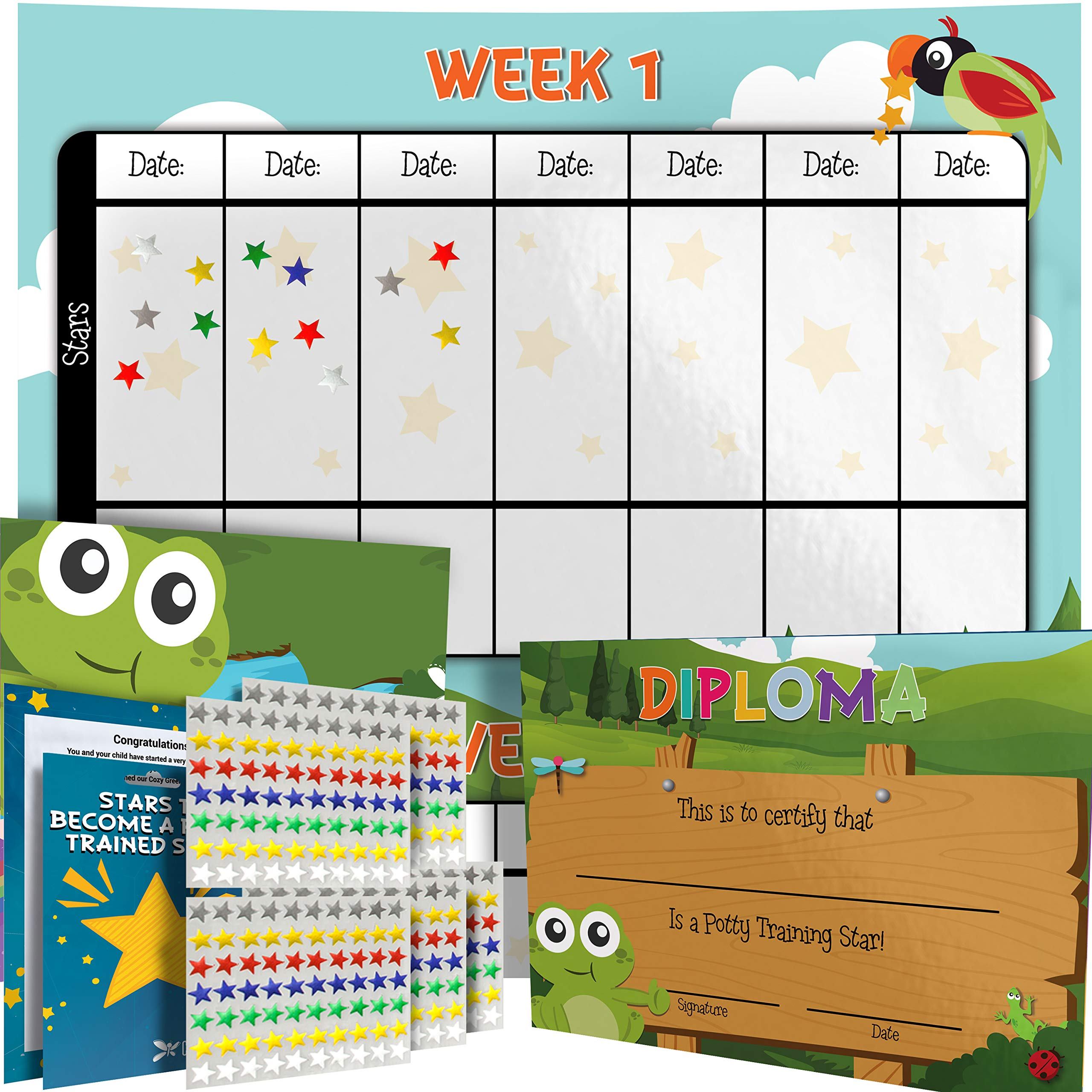 Potty Training Chart - Reward Sticker Chart - Girls Theme - Marks Behavior Progress – Motivational Toilet Training for Toddlers and Children – Great for Boys and for Girls (Forest Theme)