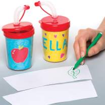 Baker Ross Colour-in Bendy Straw Cups (Pack of 3) Kids to Decorate