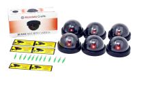 Mandala Crafts 6 Dummy Fake Security Dome Cameras with Flashing Red LED Light CCTV Alert Warning Sticker Decal Signs