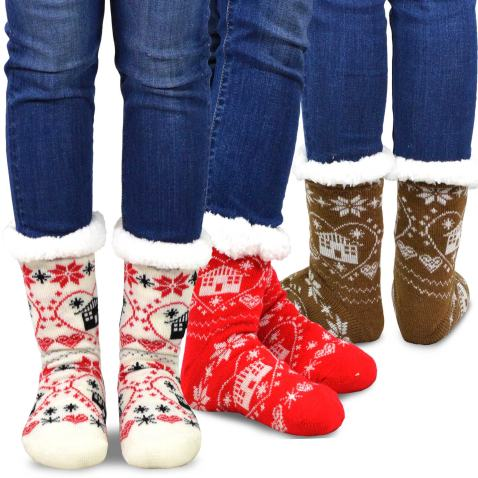 Teehee Soft Premium Thermal Double Layer Crew Socks for Women and Men 3-Pack