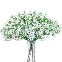 BOMAROLAN Artificial Baby Breath Flowers Fake Gypsophila Bouquets 12 Pcs Fake Real Touch Flowers for Wedding Decor DIY Home Party (White)