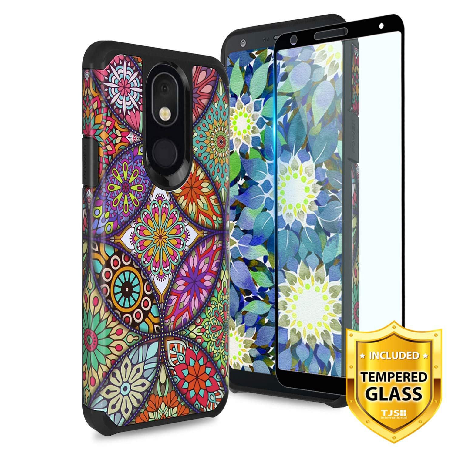 TJS Phone Case for LG Aristo 4 Plus X320/Escape Plus/K30 2019/Prime 2, with [Full Coverage Tempered Glass Screen Protector] Dual Layer Hybrid Shockproof Protection Rugged Armor (Colorful Mandala)