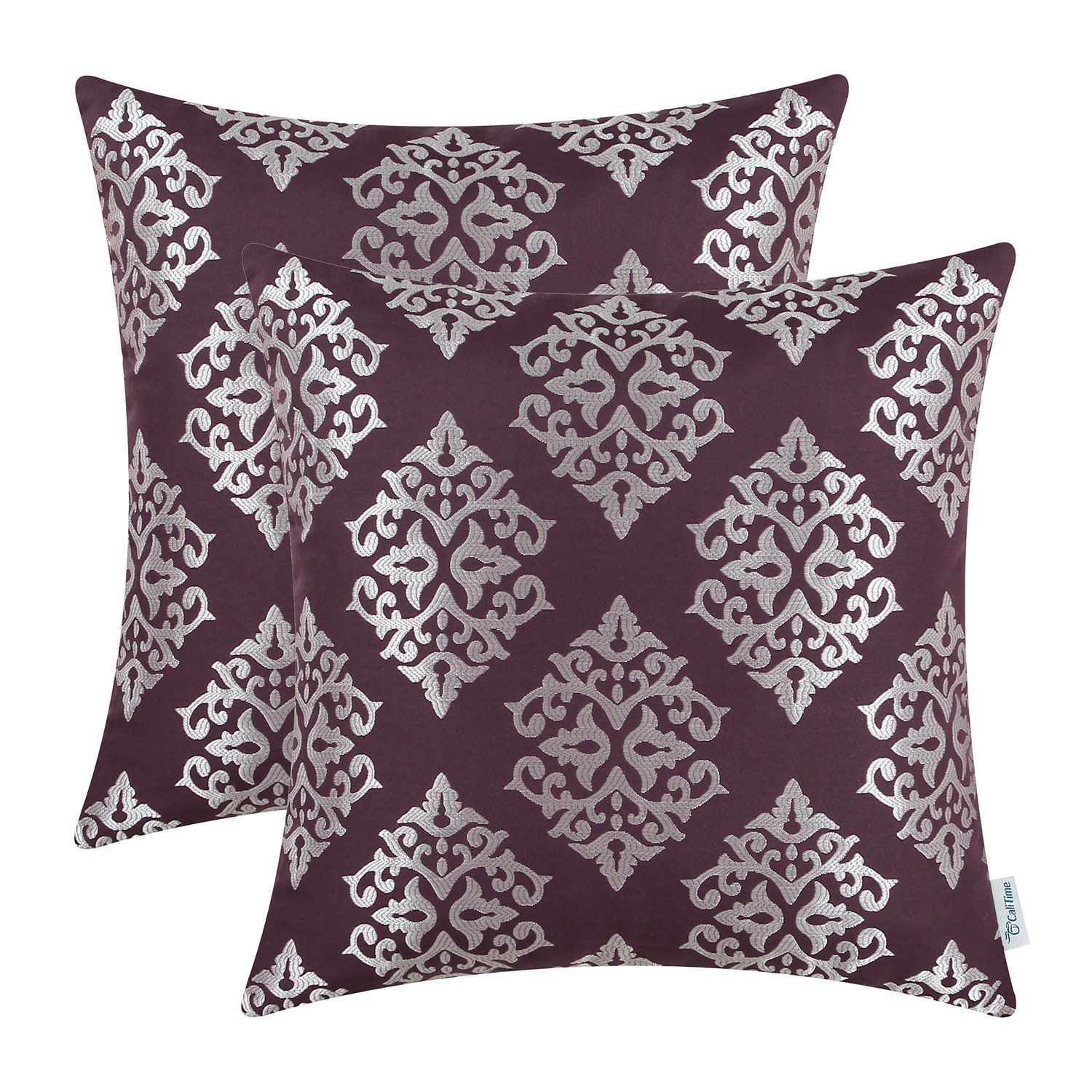 CaliTime Pack of 2 Soft Jacquard Throw Pillow Covers Cases for Couch Sofa Home Decoration Vintage Diamond Shape Damask Floral 18 X 18 Inches Aubergine