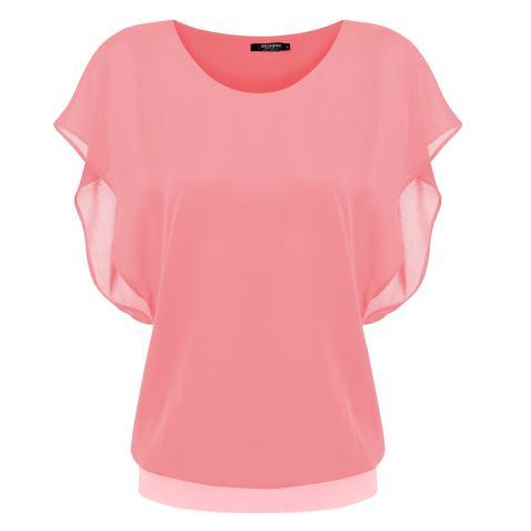 Womens Loose Casual Short Sleeve Chiffon Top T-Shirt Blouse