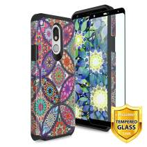 TJS Phone Case for LG Stylo 5/LG Stylo 5 Plus/LG Stylo 5V/LG Stylo 5X, with [Full Coverage Tempered Glass Screen Protector] Dual Layer Hybrid Shockproof Protection Rugged Armor (Colorful Mandala)
