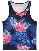 COOFANDY Men's Floral Tank Top Sleeveless Tees All Over Print Casual Sport Gym T-Shirts Hawaii Beach Vacation