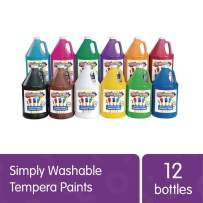 Colorations Washable Tempera Paint, Gallon Size, Set of 12 Colors, Non Toxic, Vibrant, Bold, Kids Paint, Craft, Hobby, Fun, Art Supplies, Paint Set (Item # SWTGAL)