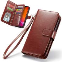 iPhone 11 Pro Max Wallet Case, iPhone 11 Pro Max Case, 6.5Inch XRPow [2 in 1] Magnetic Detachable Wallet Case [PU Leather] Folio Flip [9 Card Slot] [Wrist Strap] Durable Protection Back Cover (Brown)