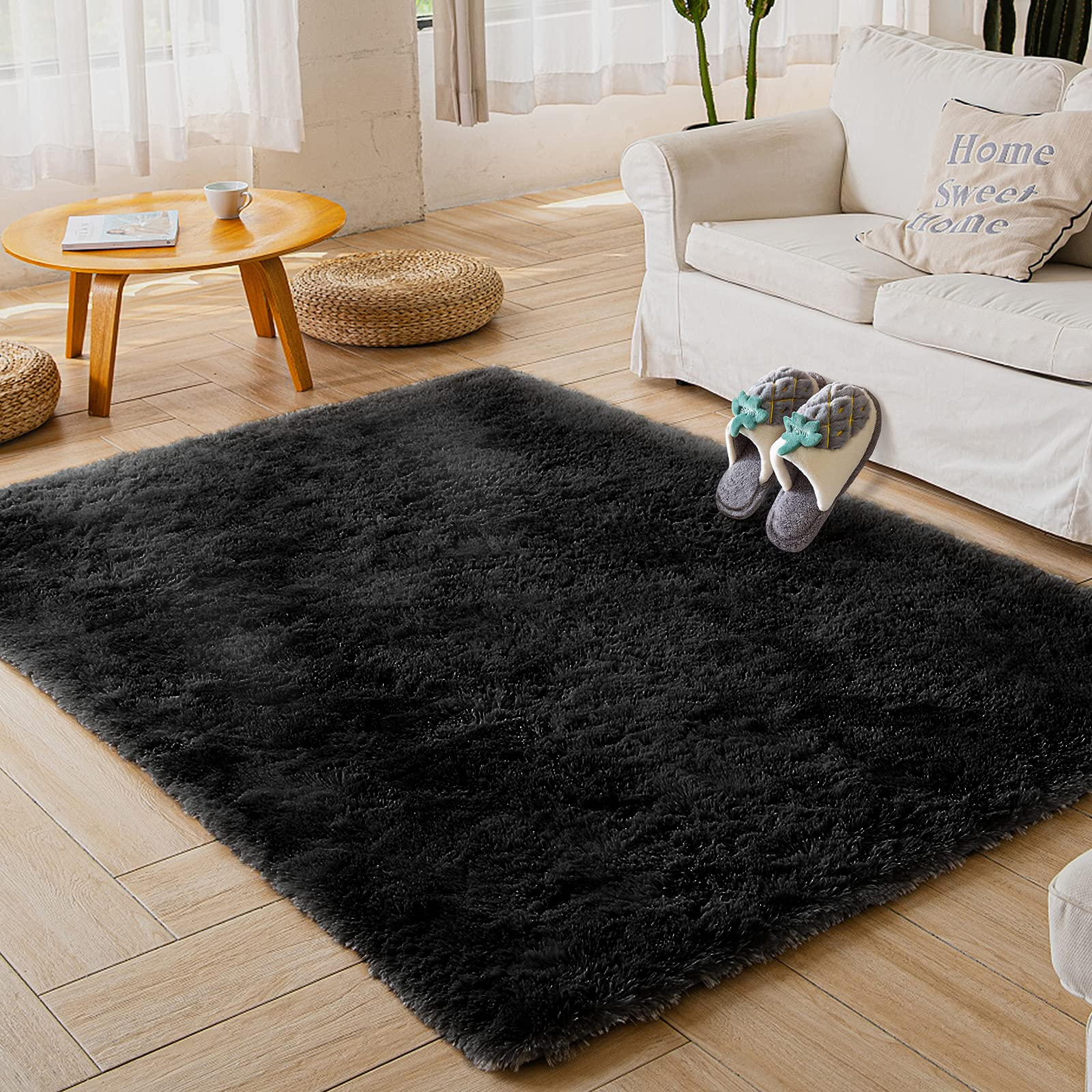 Area Rugs, Qumig Machine Washable Modern Shag Rugs for Bedroom Living Room, Super Soft and Luxurious Non-Slip Thick Carpet for Kids Nursery Girls Home, 2x3 Feet Black