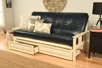 Kodiak Furniture Monterey Antique White Futon Set with Drawers, Included, Oregon Trail Navy Mattress