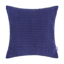 CaliTime Cozy Throw Pillow Cover Case for Couch Sofa Bed Comfortable Supersoft Corduroy Corn Striped Both Sides 18 X 18 Inches Royal Blue