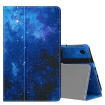 MoKo Case Fits Kindle Fire 7 Tablet (9th Generation, 2019 Release), Premium PU Leather Slim Folding Stand Shell Multiple Viewing Angles Cover with Auto Wake/Sleep - Blue Sky Star