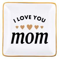 RELISSA Gifts for Mom, Mother's Day Gift for Mom - I Love You Mom - Trinket Dish, Jewelry Tray for Mom Necklace