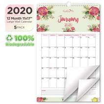 EcoEarth Biodegradable 11x17 Inch Vertical Hanging Wall Calendar (5 Pack), 2020 Calendar Year Monthly Calendar, Blossoms Art Design