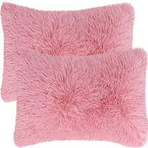 """PiccoCasa Pack of 2 Soft Fuzzy Faux Fur Throw Pillow Covers, Decorative Long Shaggy Cushion Covers, Soft Sofa Pillowcases for Livingroom Couch Bedroom Car Seat, 12"""" x 20"""", Millennial Pink"""