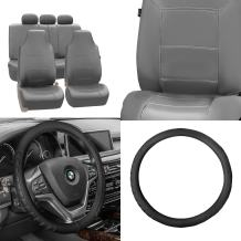 FH GROUP FH-PU103115 High Back Royal PU Leather Solid Gray Seat Covers (Airbag compatible & Split) W. FH2006 Leather Black Steering Wheel Cover- Fit Most Car, Truck, Suv, or Van