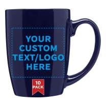 Coffee Mug - 10 pack - Customizable Text, Logo - 12 Oz. Curved Java Mugs - Ideal For Coffee Shops, Restaurants & Diners - Smooth Ceramic With Glossy Color Exterior Durable Stoneware - Cobalt Blue