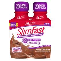 SlimFast Advanced Nutrition Creamy Chocolate Shake – Ready To Drink Meal Replacement – 20g of Protein – 11 Fl. Oz. Bottle – 4 Count