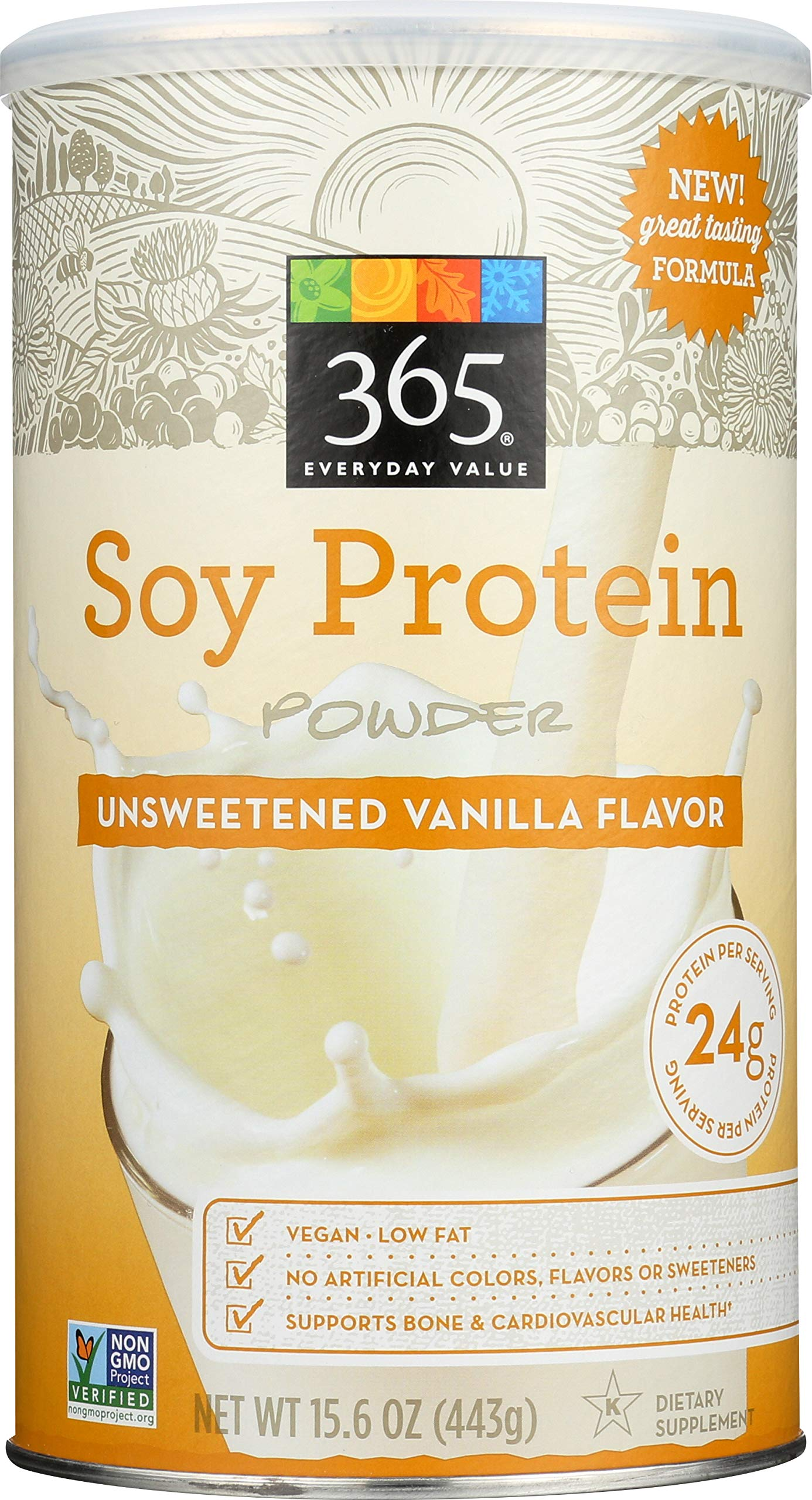 365 Everyday Value, Soy Protein Powder, Unsweetened Vanilla Flavor, 15.63 oz