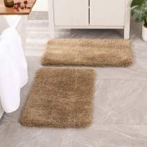 MIULEE Set of 2 Non Slip Shaggy Bathroom Rugs Extra Thick Soft Bath Mats Plush Microfiber Absorbent Water for Tub Shower Machine Washable (Beige, 16x24 inches)